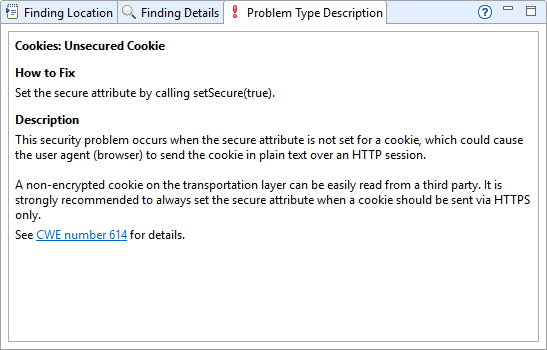 Xanitizer screenshot of the problem type description for an automatically detected 'Unsecured Cookie' vulnerability.